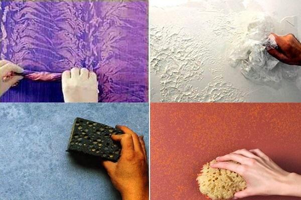 дополнительные эффекты на поверхности покрытой фактурной краской