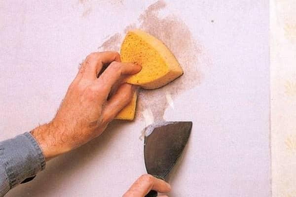 как снять побелку со стен мокрым способом