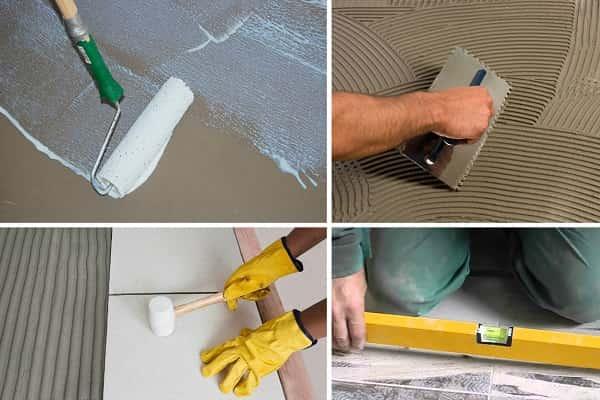 как выровнять пол плиточным клеем с одновременной укладкой плитки