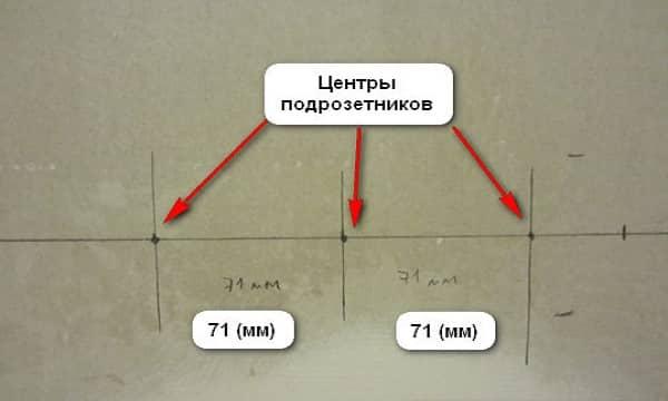 как установить подрозетник в гипсокартон: разметка отверстия