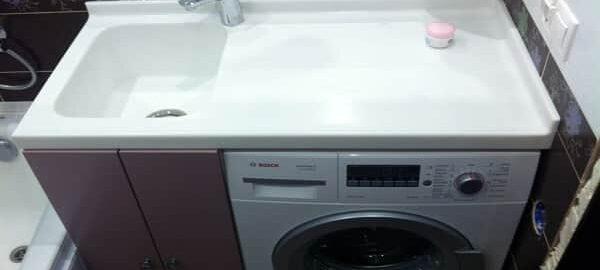 как установить умывальник над стиральной машиной