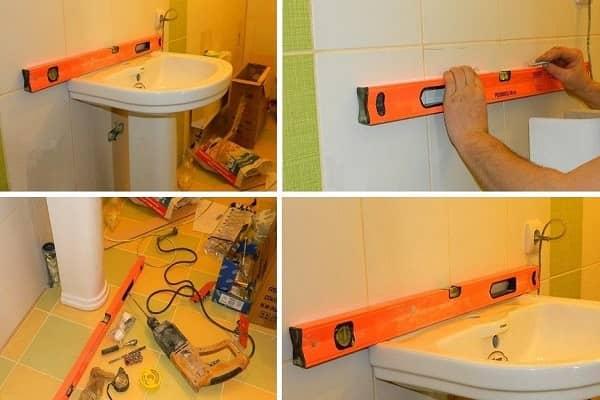 как установить раковину с пьедесталом в ванной правильно