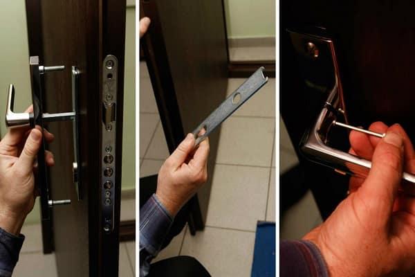 как установить дверную ручку на входную дверь: монтаж ручки-замка