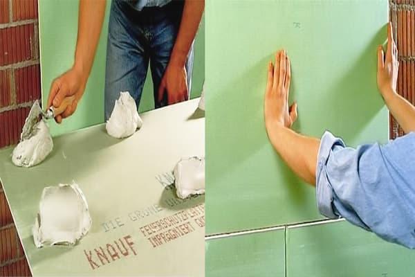 как выровнять стены в ванной гипсокартоном без каркаса