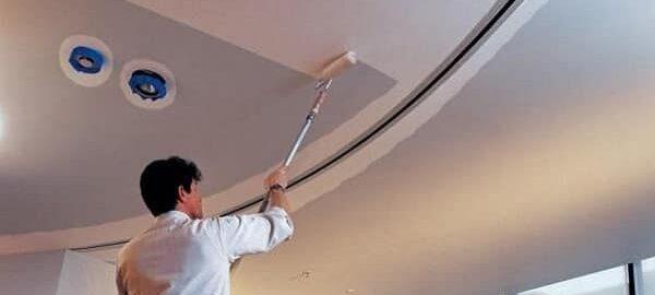 как покрасить гипсокартонный потолок