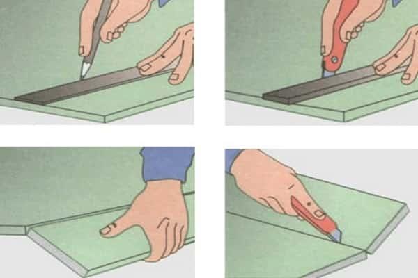 как сделать потолок из гипсокартона своими руками: разрезание ГКЛ