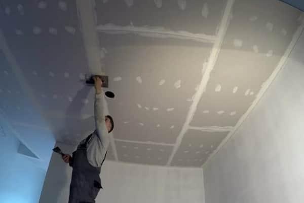 как сделать потолок из гипсокартона своими руками: заделка швов