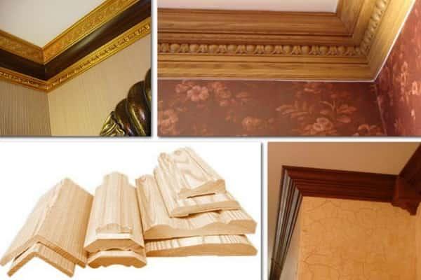 как приклеить плинтус к натяжному потолку: особенности деревянных элементов
