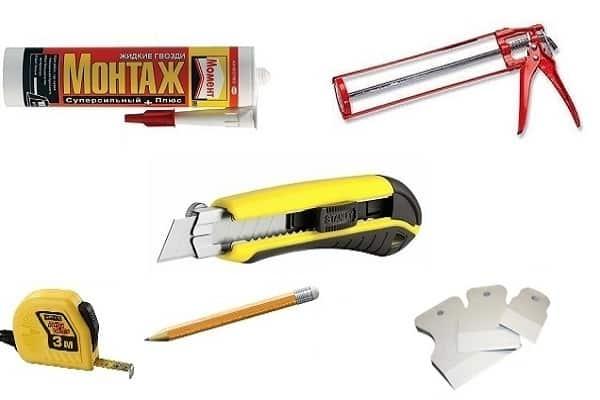 как приклеить плинтус к натяжному потолку: требуемые инструменты